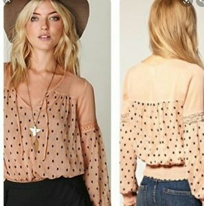 FREE PEOPLE Polka-dot  Blouse